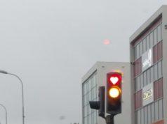 Сердце на светофоре в Исландии